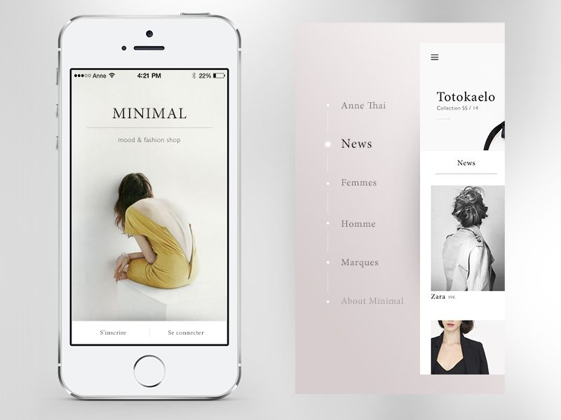 Minimal Application by Anne Thai What caught my eye was the soft gradient navigation background.