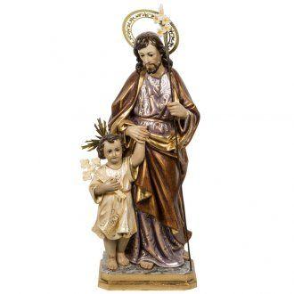 San José con el niño 60 cm pasta de madera acabado