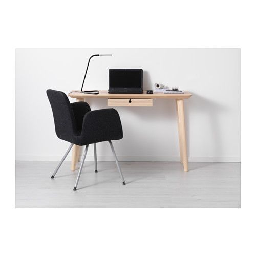 Lisabo Ash Veneer Desk 118x45 Cm Ikea Ikea Desk Ikea Small Desk Ikea White Desk
