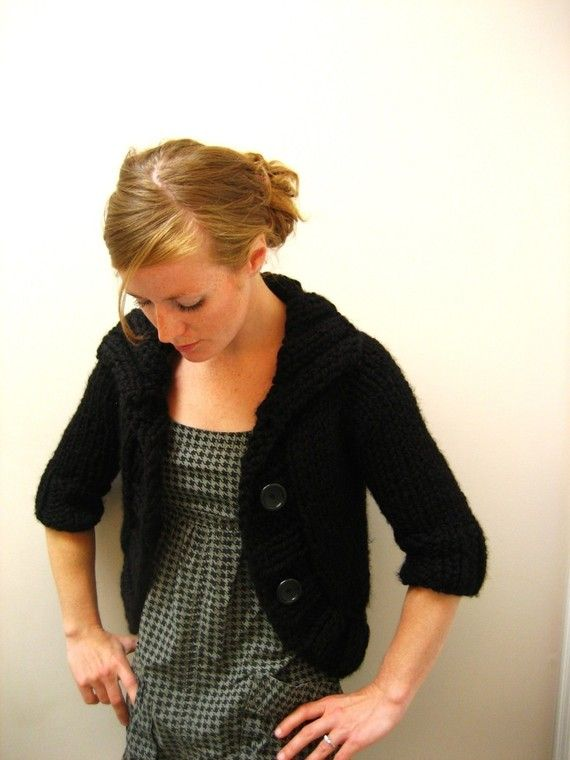 KNITTING PATTERN // Cozy Bolero // top-down super bulky sweater ...