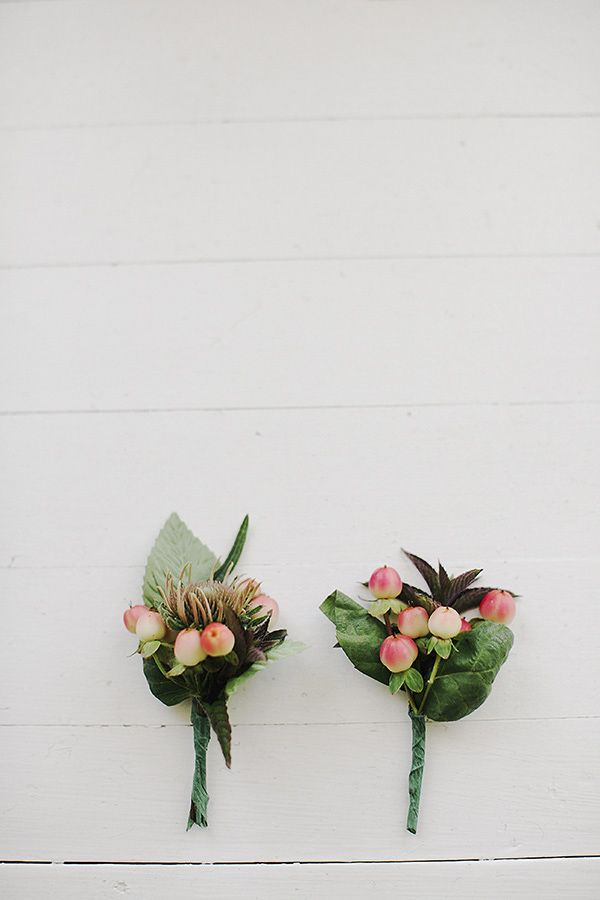 berry boutonnieres by Boxx Berry Farms, photo by Michel M. Waite Photography | via junebugweddings.com