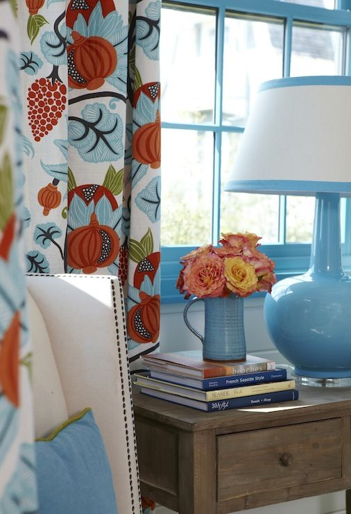 Blue And Orange Curtains Cottage Bedroom Tracery Interiors Bedroom Orange Teal Living Rooms Orange Curtains