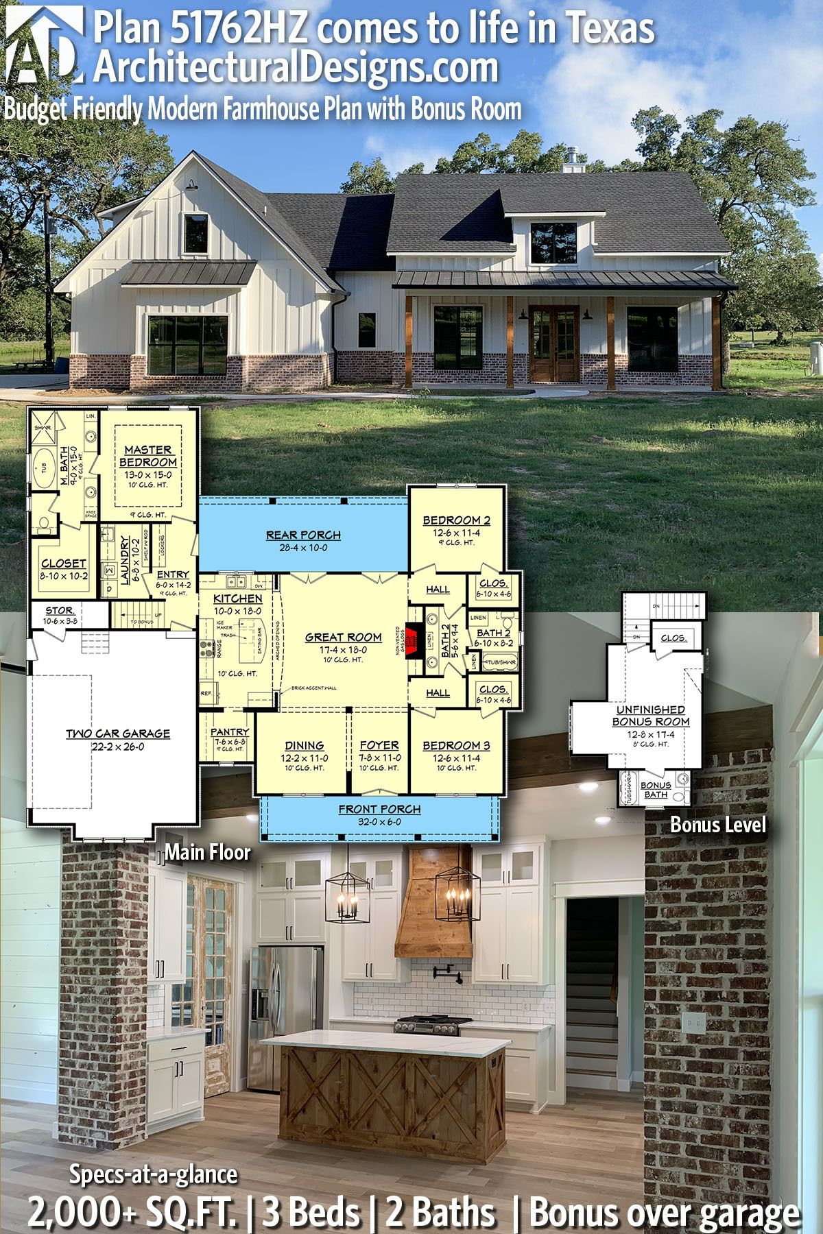 Plan 51762hz Budget Friendly Modern Farmhouse Plan With Bonus Room Modern Farmhouse Plans Farmhouse Plans New House Plans