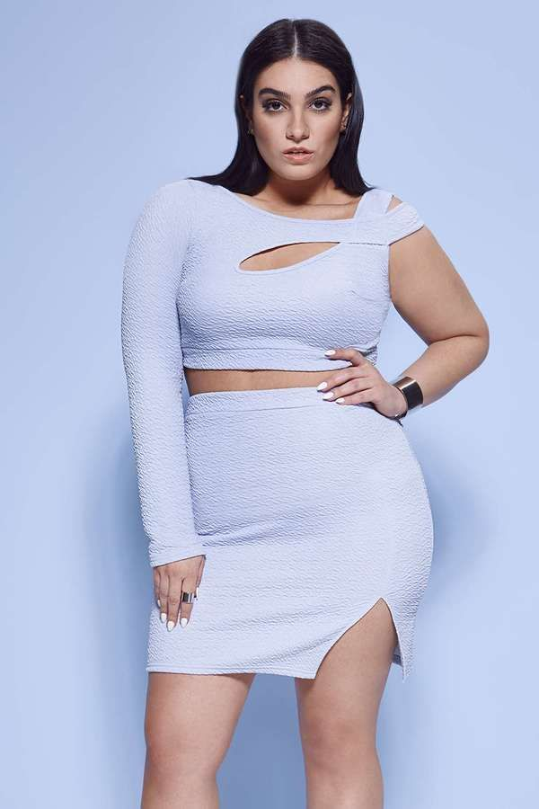 0179743920653 Nadia Aboulhosn Plus Size Collection at Boohoo. Plus Size Asymmetric Crop    Skirt