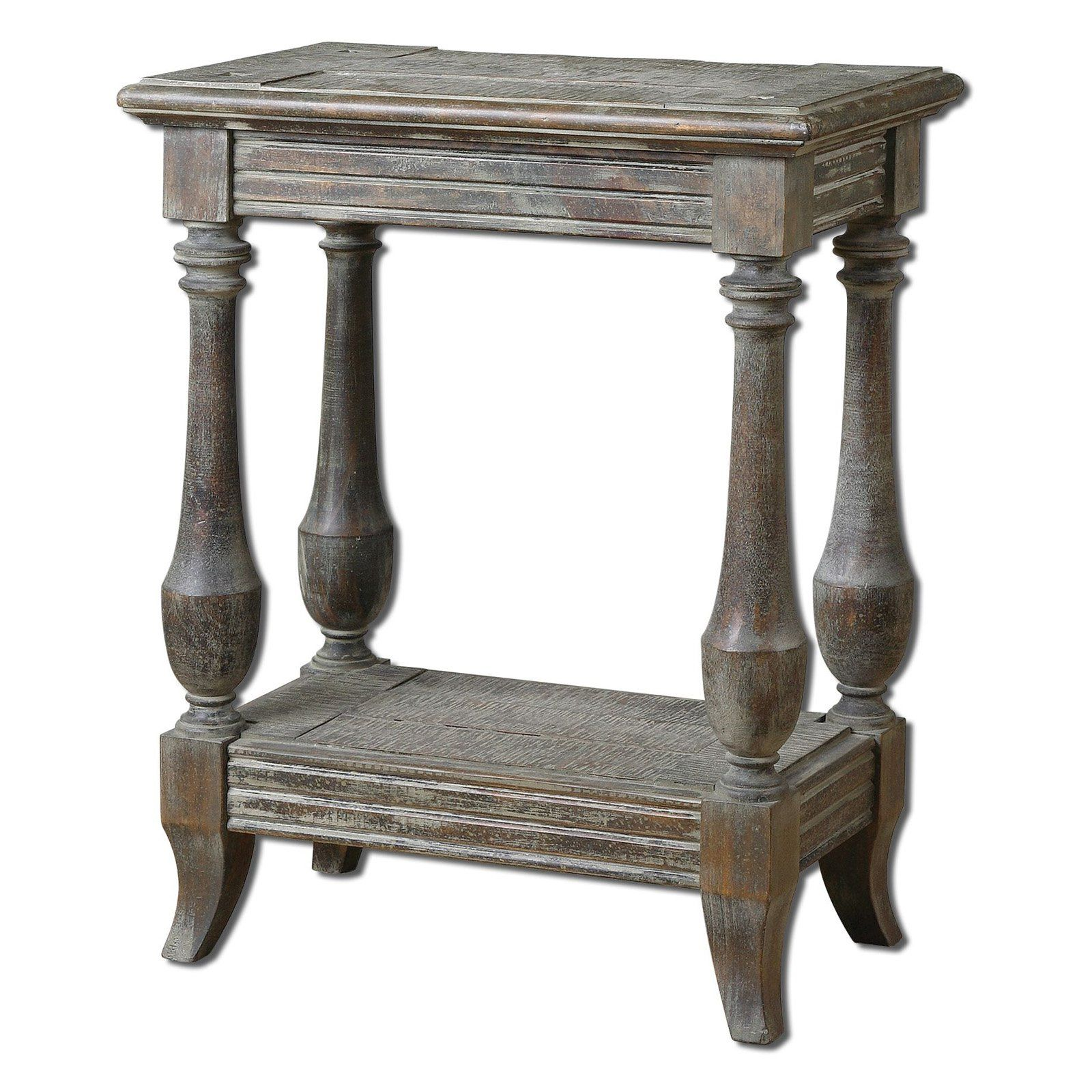 Uttermost Mardonio Rectangle Rustic Limestone Wood Side Table With Shelf    You Have A Special Space