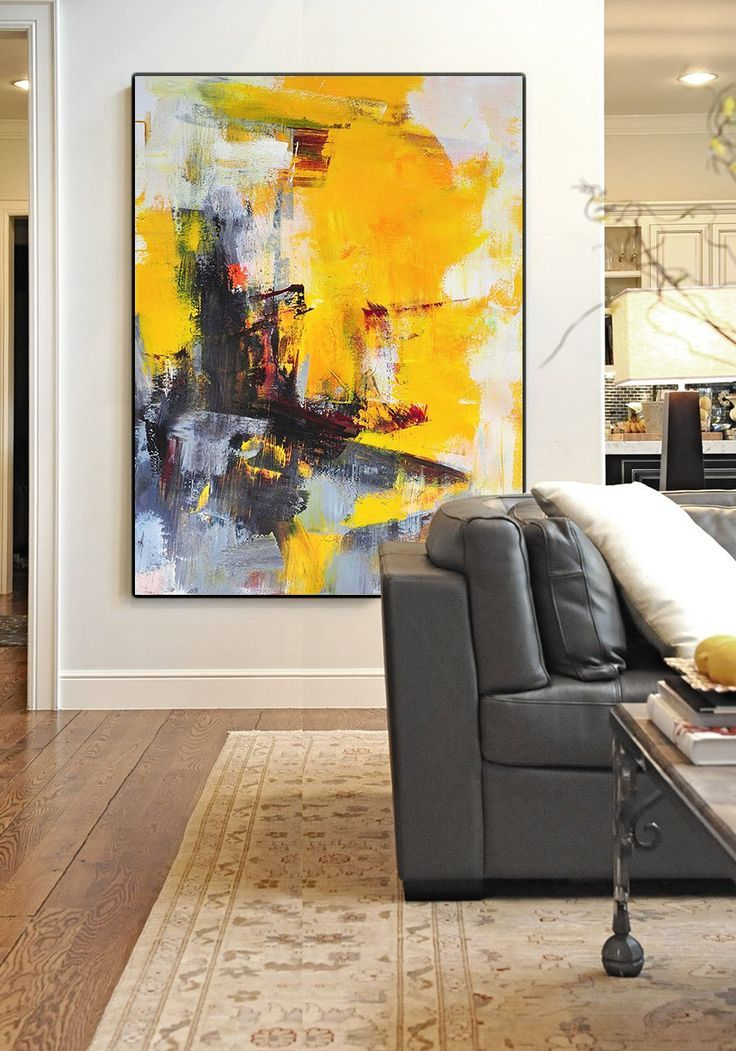 Hand painted oversized wall art, palette knife painting, vertical contemporary painting on canvas. – CZ Art Design