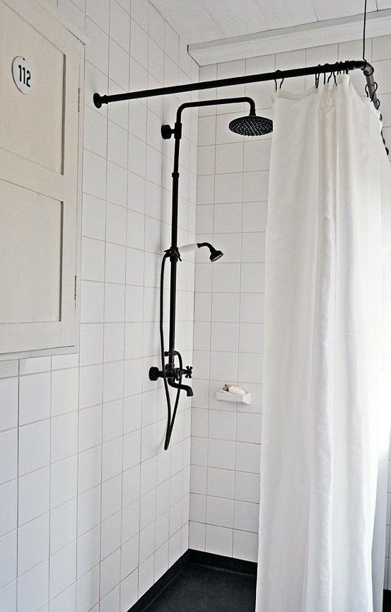 Old School Style Rain Showerhead Black Shower Curtains Shower