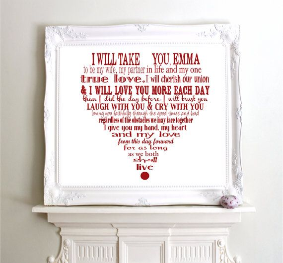 Items Similar To Personalized Wedding Vows Modern Typography Giclee Art Print 10x8 11x14