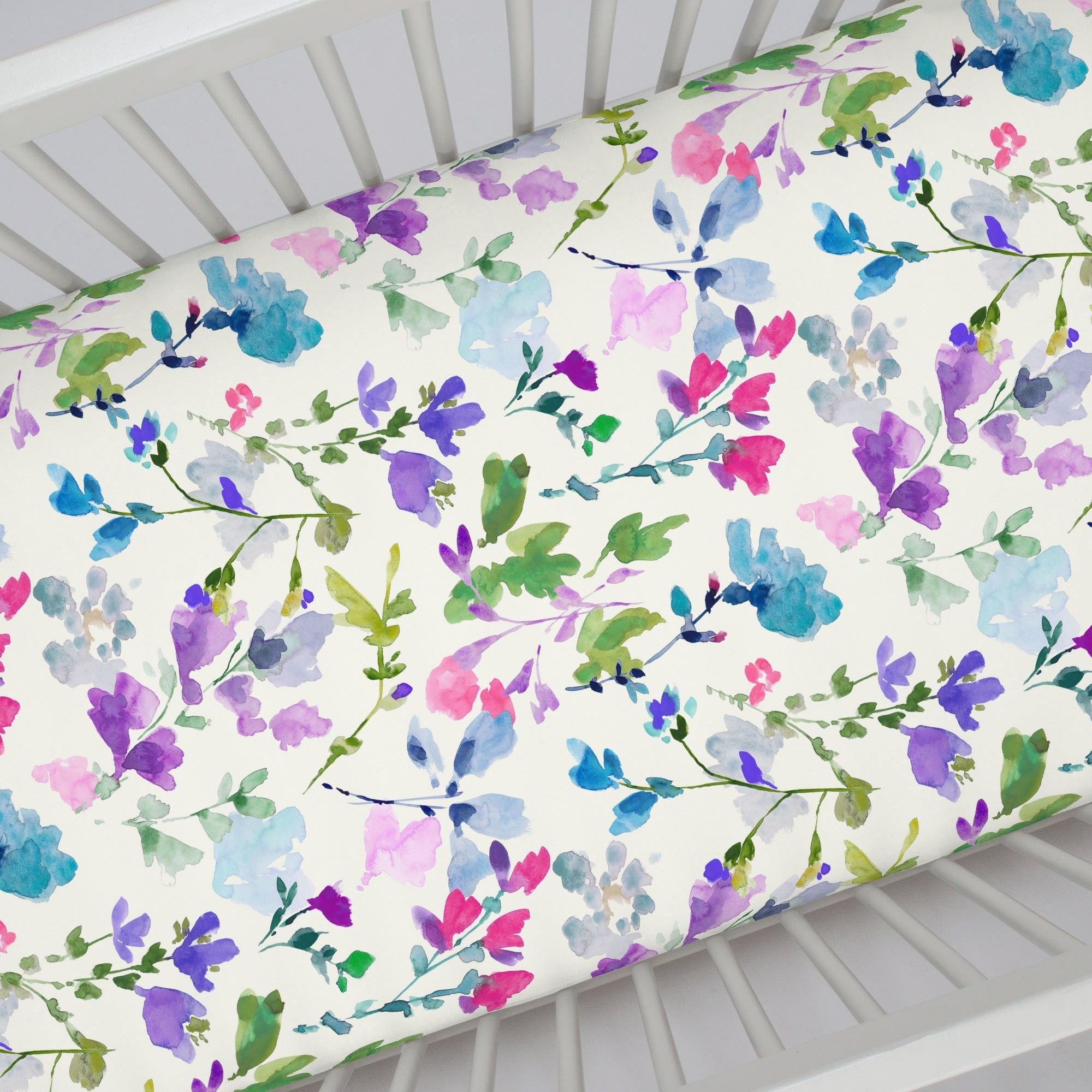 Crib Ed Sheet In And Bright Wildflower By Carousel Designs Our Sheets Feature Deep Pockets Have Elastic All The Way Around Edges To