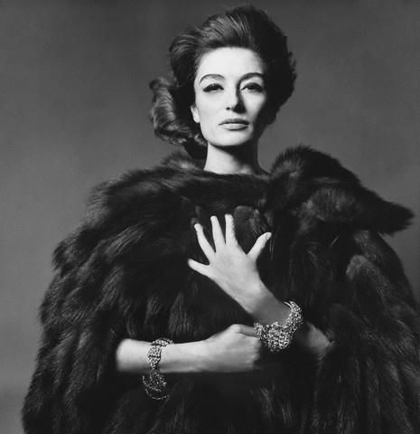 ca. 1960s, New York City, New York, USA --- French actress Anouk Aimee wearing hip-length coat made from the tails of Russian sable; bracelets by Jack Gilbert.