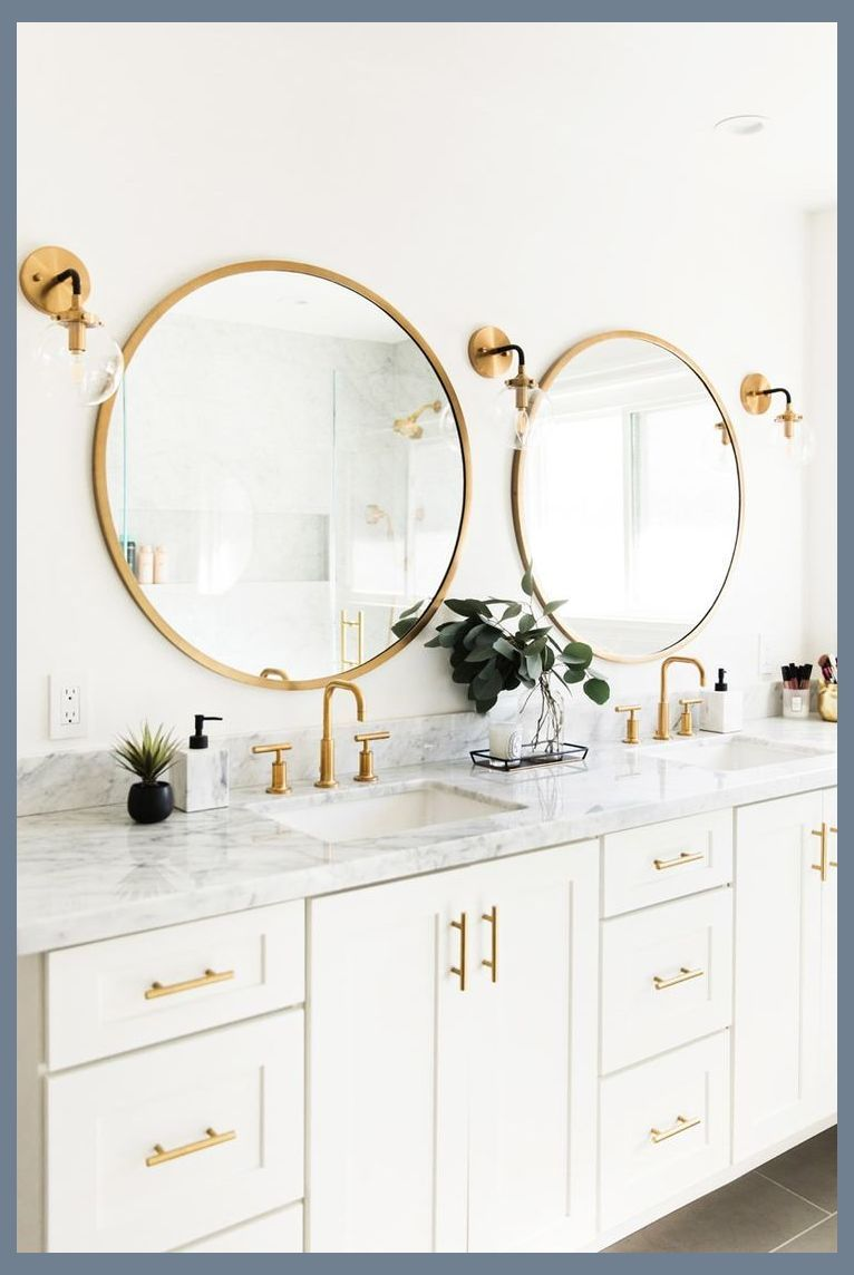Like The White Cabinets Marble Tops Gold Circular Mirrors Light Fixtures Inexpensi White Marble Bathrooms Master Bathroom Renovation Round Mirror Bathroom