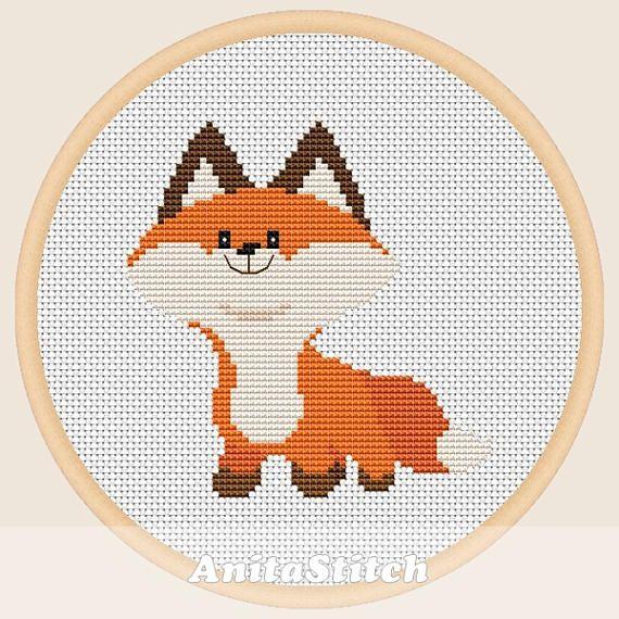 Little fox - Cross stitch pattern | Costuras | Pinterest | Punto de ...