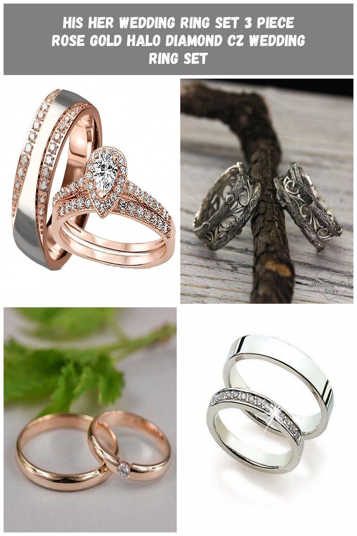 His Her Matching Wedding Ring Set Rose Gold Wedding Set Edwinearls Engagement Weddings Matching Wed Cz Wedding Ring Sets Wedding Ring Sets Wedding Rings