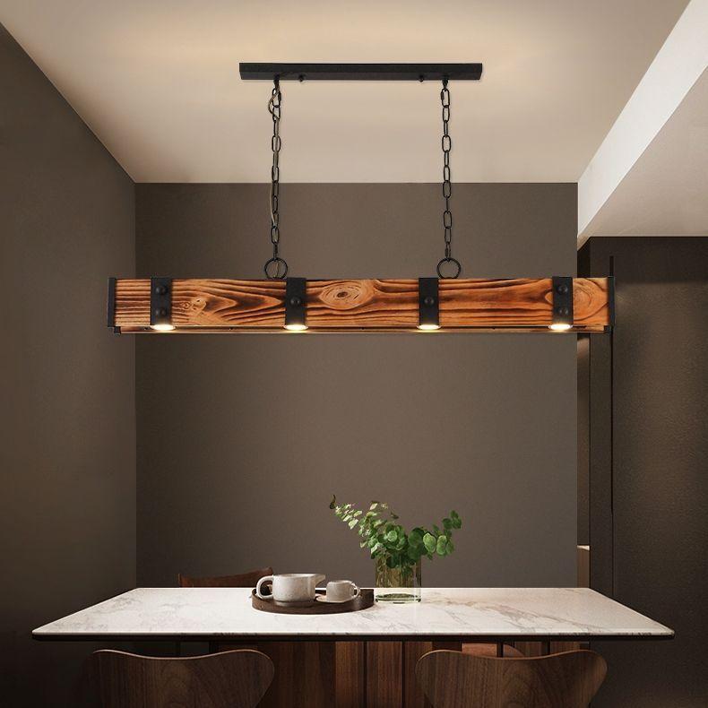 Rowen Industrial Loft Style 4-Light LED Linear Rust Wood & Metal Island Pendant Light