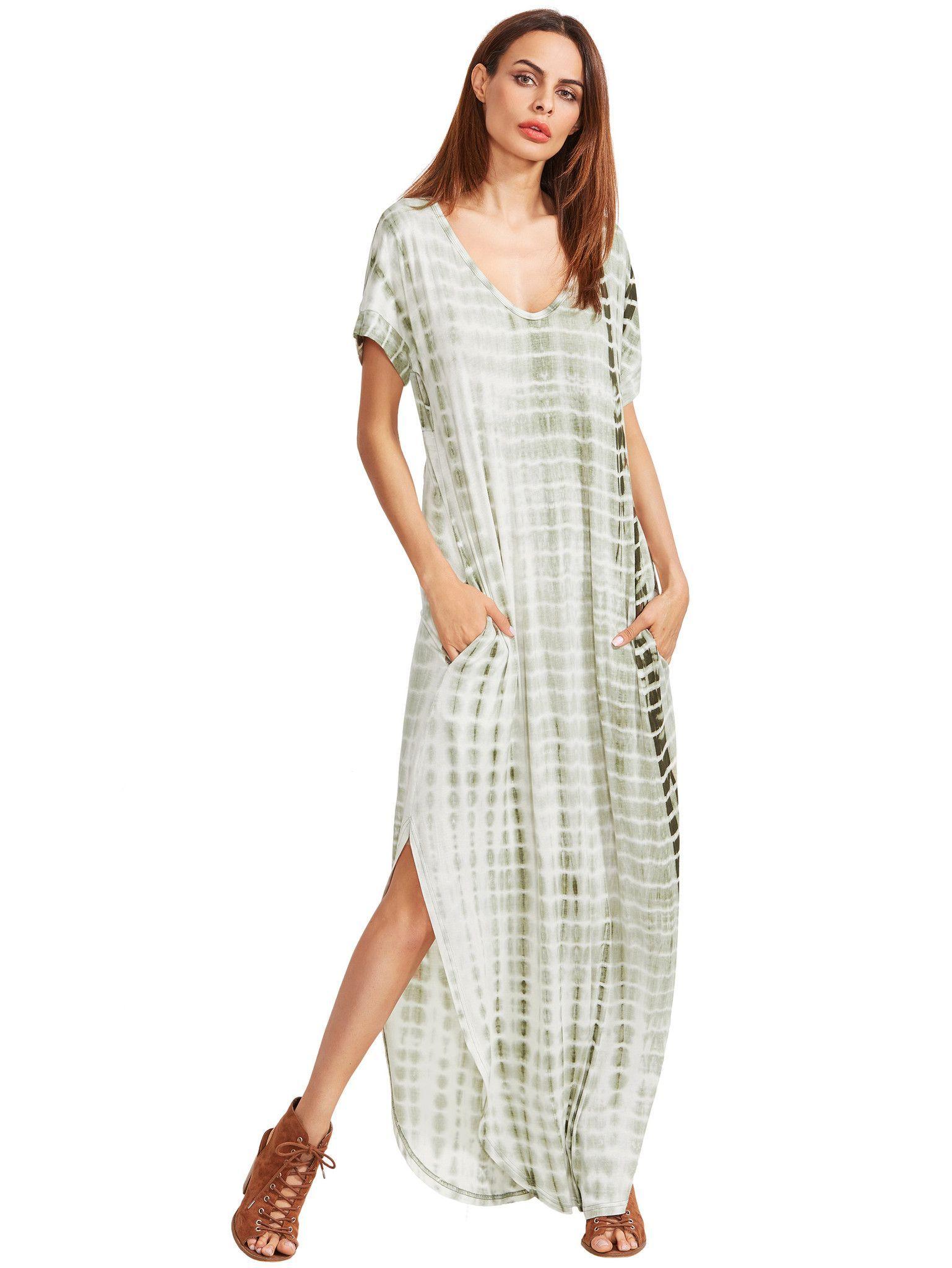 Green Dye V Neck Short Sleeve Long Dress