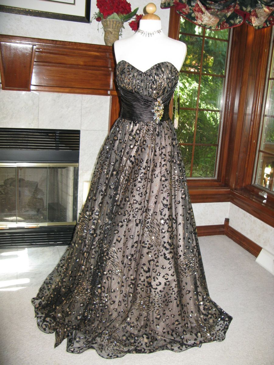 Jovani 490 Black Gold Champagne Ball Gown Dress sale this week! sz 4 ...