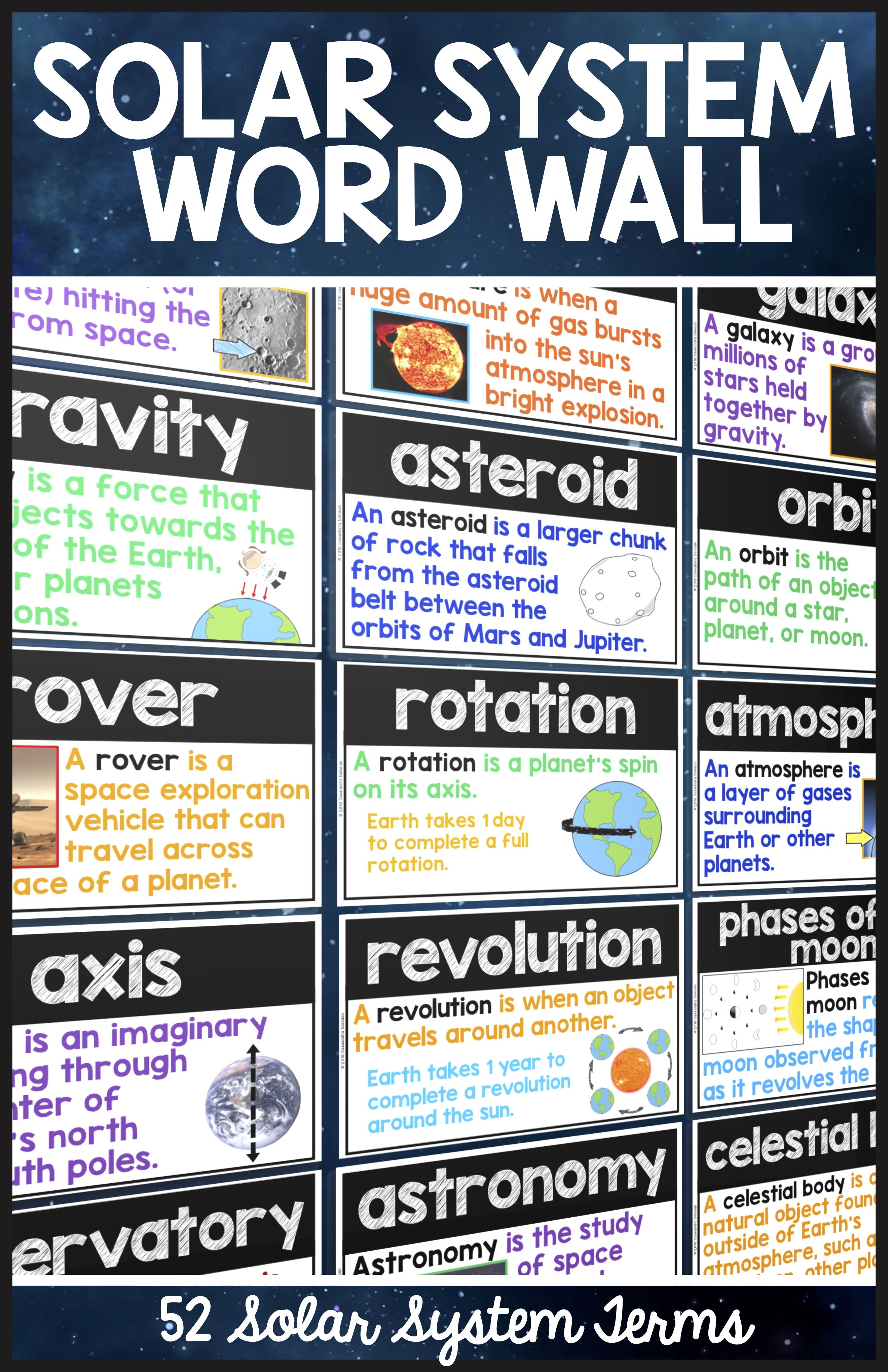 Solar System Word Wall - Solar System Vocabulary Terms ...