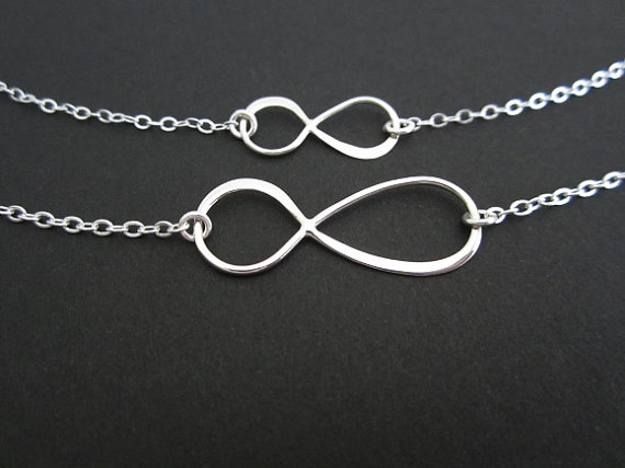 Sterling Silver Infinity Necklace Set. by ABrilliantImpression, $50.00