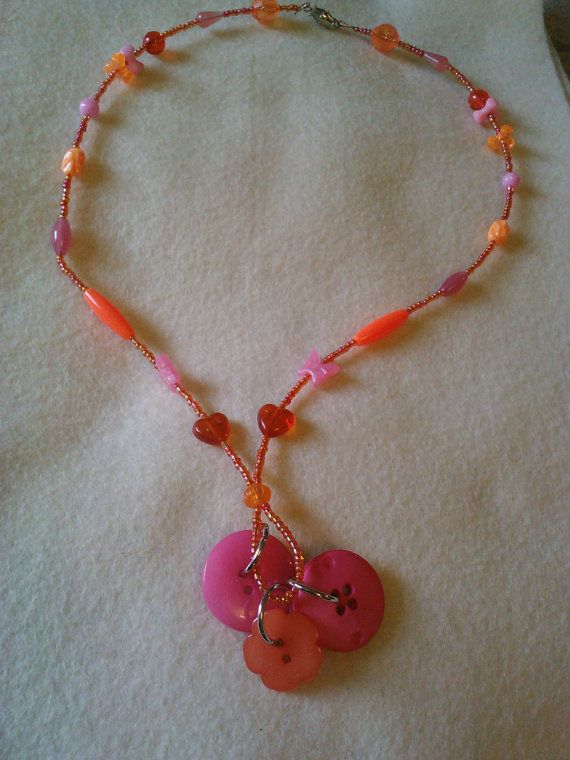 Bright orange and pink cluster button by CRAZYBUTTONDESIGNS13, $7.00