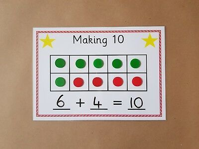 Making ten frame, number bonds, mat and counters, EYFS, teaching Maths Eyfs, Numeracy Activities, Subtraction Activities, Addition Activities, Math Games, Teaching Numbers, Math Numbers, Number Bonds To 10, Number Lines