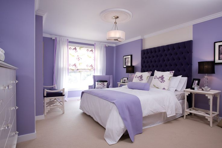Master Bedroom Design Inspirations With Lavender Wall Paint And White Ceiling Featuring Upholstered Dark Purple High Headboard And Queen Bed Size
