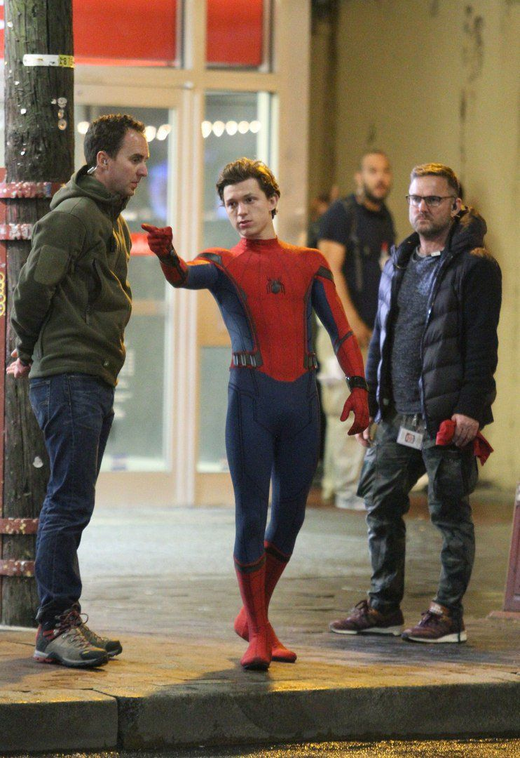 'Tom Holland' on the set of 'Spider-Man: Homecoming' (2017)