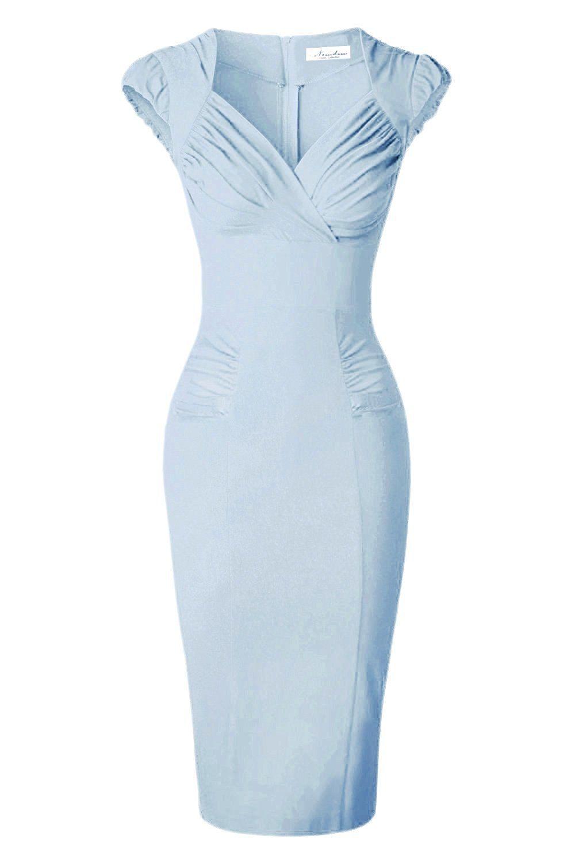 Newdow Lady's 50s Vintage V neck Capsleeve Pencil Dress