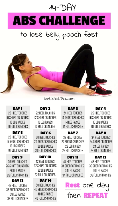 14-Day Abdominal Workout Challenge To Lose Belly Fat Fast #workoutplans