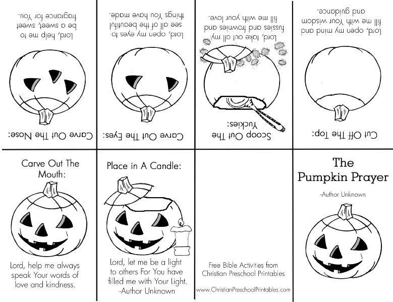 Pumpkin Prayer Mini Book Halloween Sunday School Christian Halloween Christian Halloween Crafts