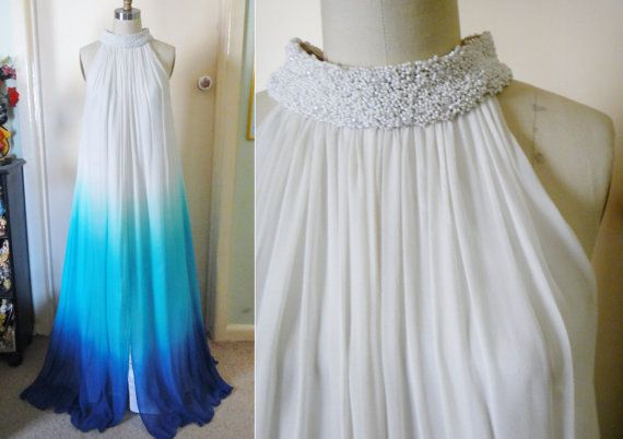 amazing Ombre Maxi Dress Beaded Silk Blue Ombre by alofashion