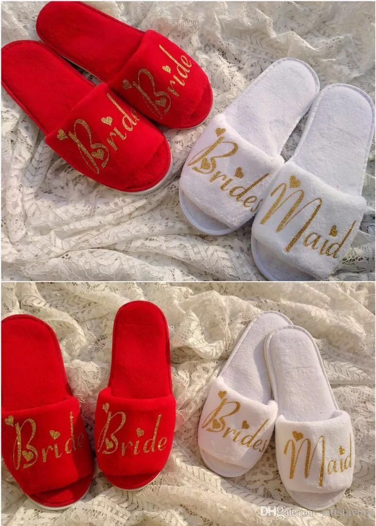 88a84cf3bccc3 Personalised Wedding Bridesmaid Bride Slippers I do crew Hens Night ...