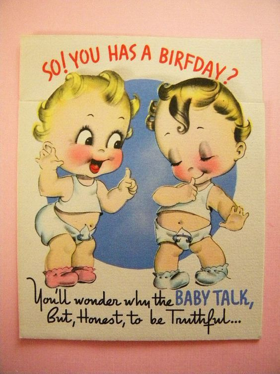 Talking Baby Friends Vintage Birthday Cards Funny