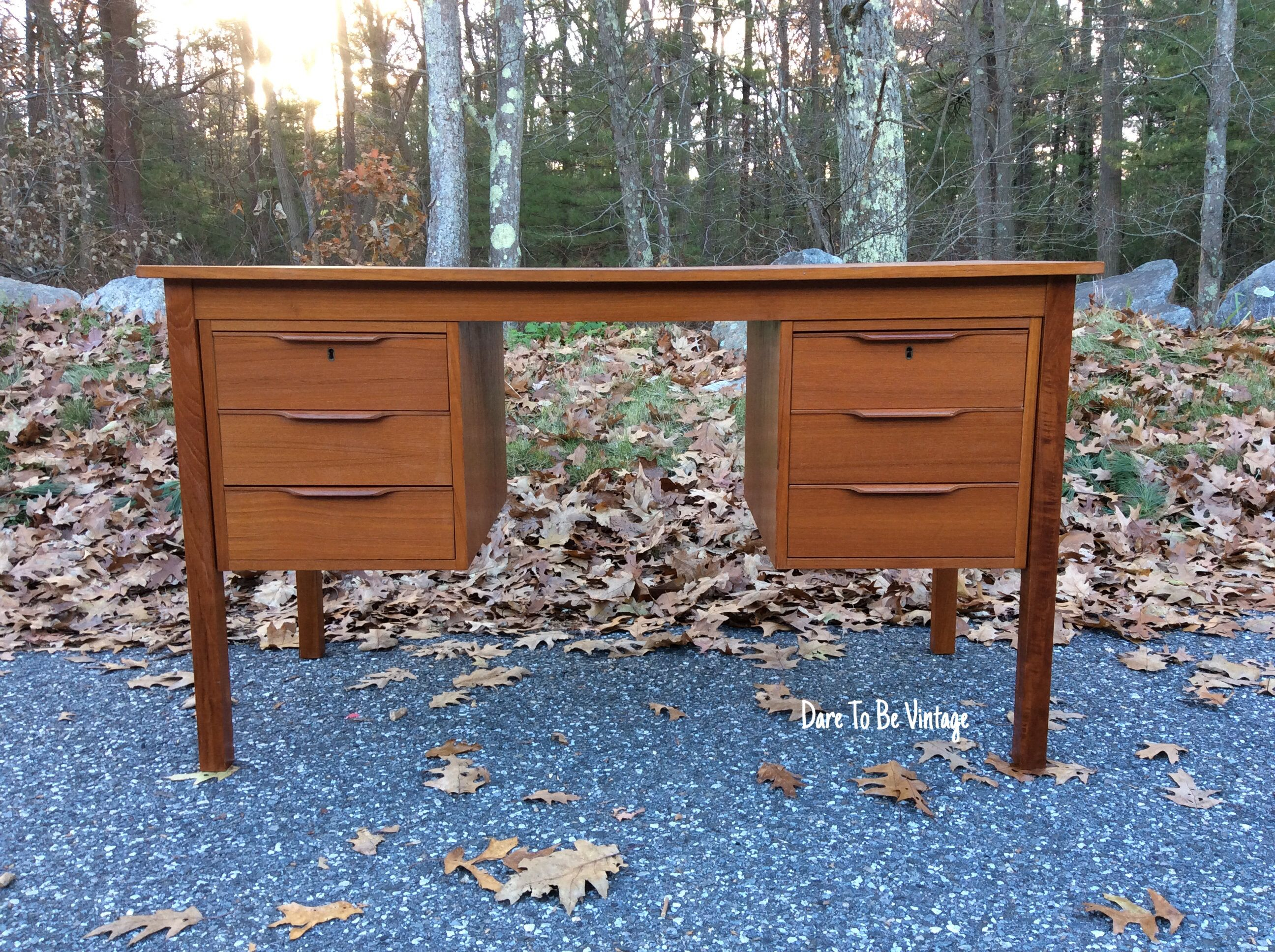 Mid Century Danish Modern Teak Desk By Bent Silberg