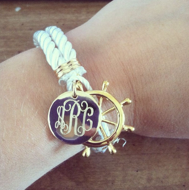 Monogrammed Nautical Rope Bracelet with Ship Wheel Clasp