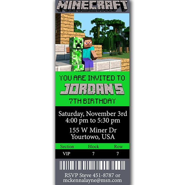 Minecraft Steve Ticket Birthday Party Invitation minecraft pary - mine craft invitation template