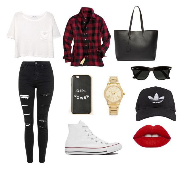 """""""Flannel"""" by emma-fitzgerald-1 on Polyvore featuring Converse, adidas, MANGO, Topshop, Yves Saint Laurent, Ray-Ban, Michael Kors, Lime Crime, women's clothing and women"""