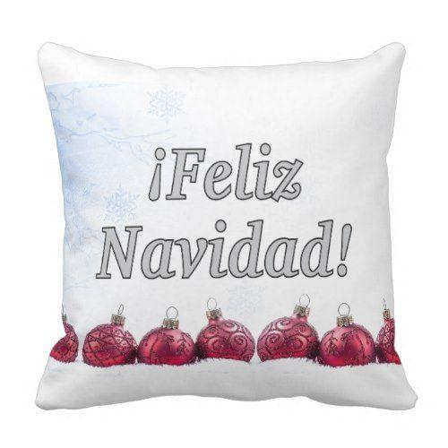 Feliz Navidad Merry Christmas In Spanish Wf Throw Pillow Zazzle