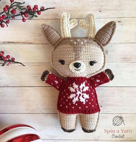 Kersttrui Dab.Haakpatroon Hertje Kerstmis Christmas Knitting Crochet Stocking
