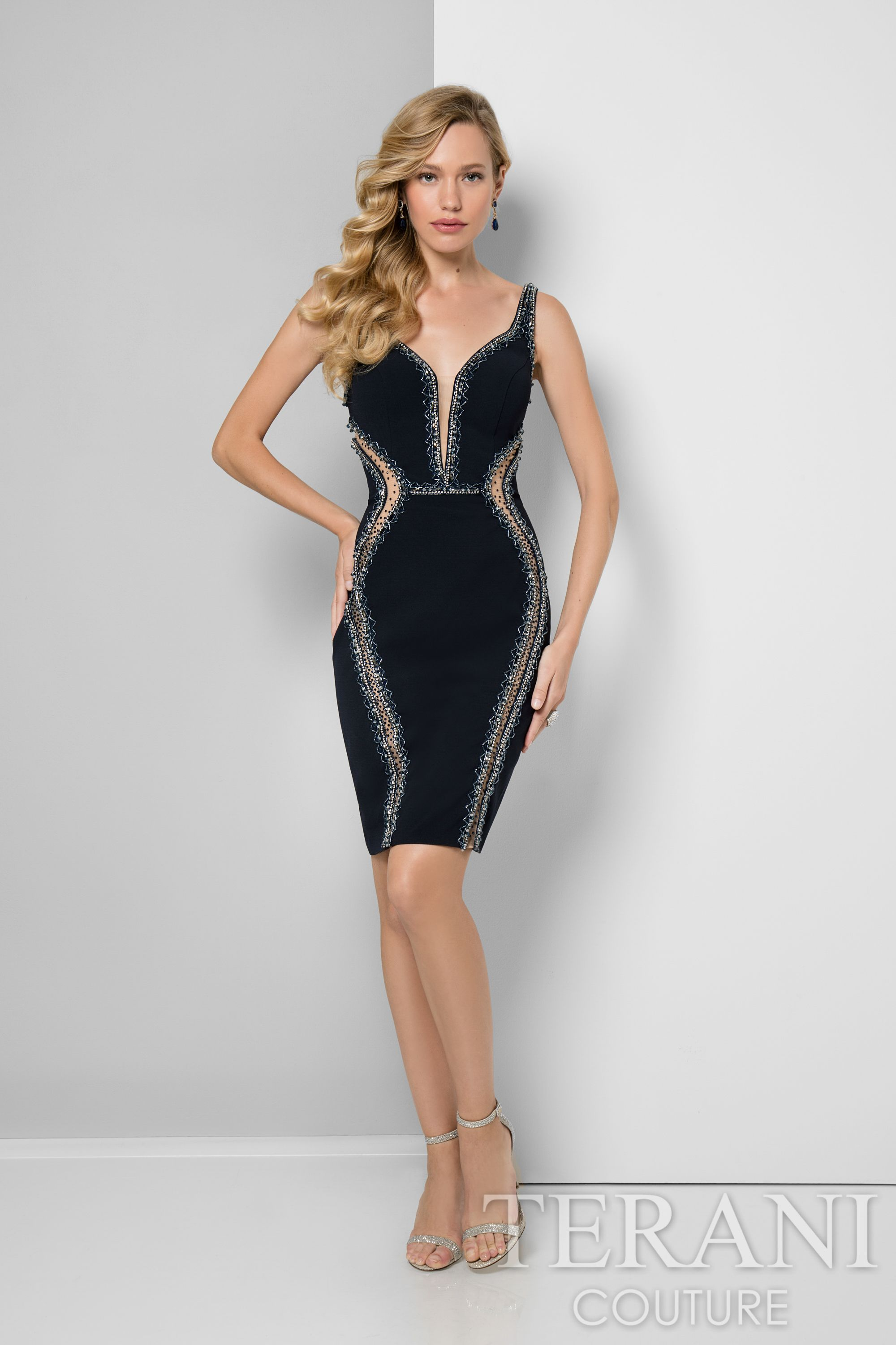 Navy nude sexy slim fit crepe cocktail party dress with sheer insets ...