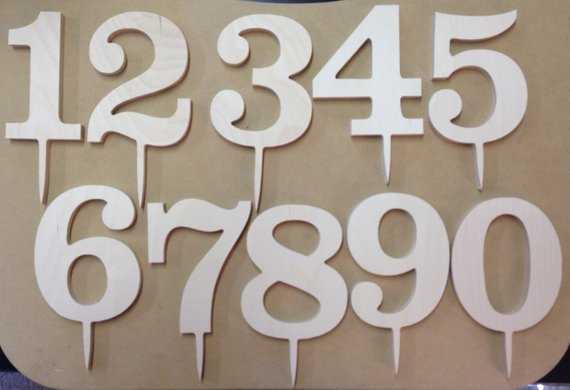 Classic Wooden Number Birthday Cake Decor
