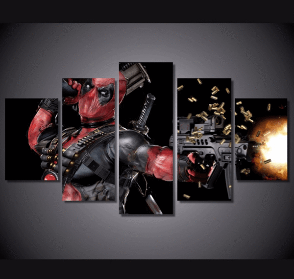 5 Piece Multi Panel Modern Home Decor Framed Marvel Comics Deadpool Superhero Wall Canvas Art - Octo Treasures - 1