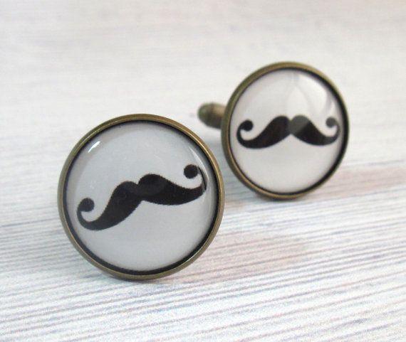 mancuernas en blanco y negro bigote - gemelos bigote para los hombres - la joyería de los hombres - accesorios de los hombres