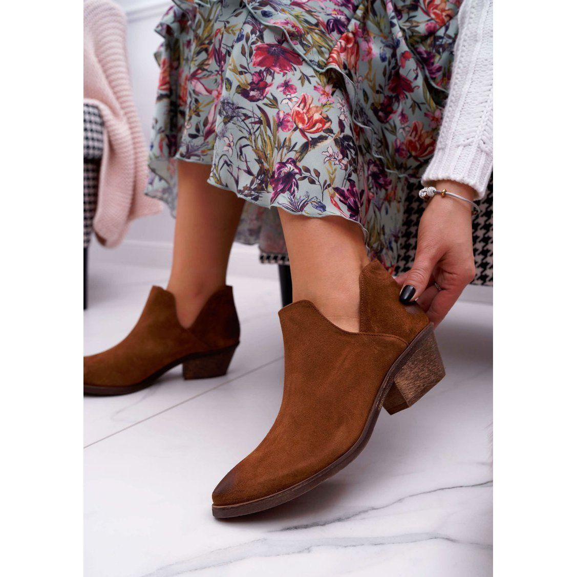Nicole Botki Damskie Brazowe Wiosenne Skorzane Anabella Boots Ankle Boot Shoes