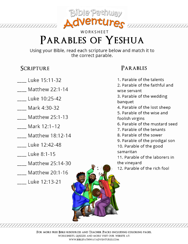 Free Bible Worksheet Parables of Yeshua – Bible Worksheets