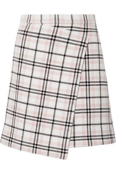 b4c8eff92fb3 CARVEN CARVEN - ASYMMETRIC PLAID WOOL-BLEND MINI SKIRT - CREAM.  carven   cloth  半身裙