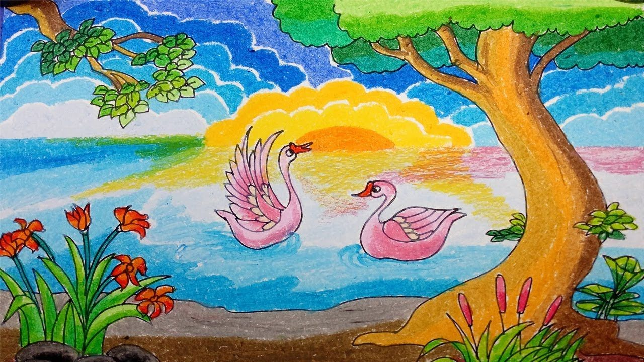 Menggambar Bunga Angsa Telaga Drawing Of Goose Flower Pond Dengan