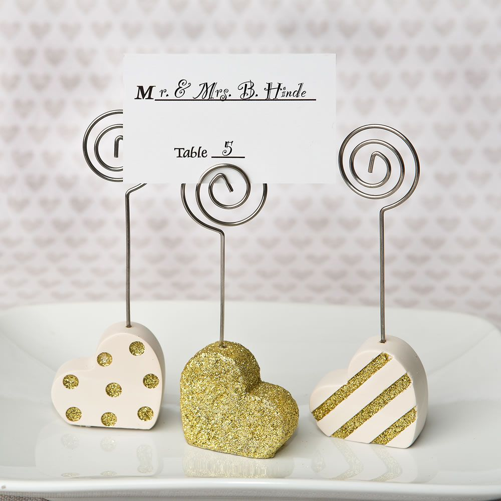 Heart Shaped Placecard Holders, Three Assorted Styles in Gold and ...