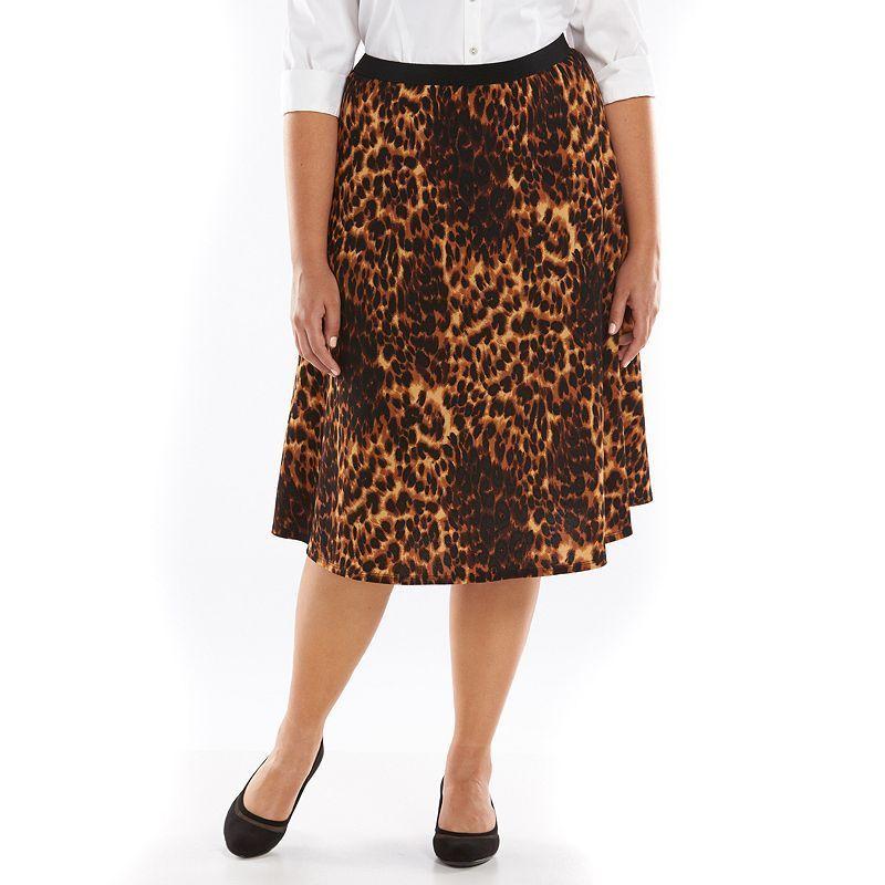Plus Size Loramendi Textured A-Line Skirt, Women's, Size: 1XL, Brown Oth