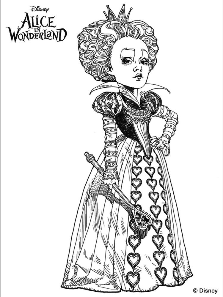 Alice In Wonderland Coloring Pages In 2020 Alice In Wonderland Drawings Alice In Wonderland Heart Coloring Pages