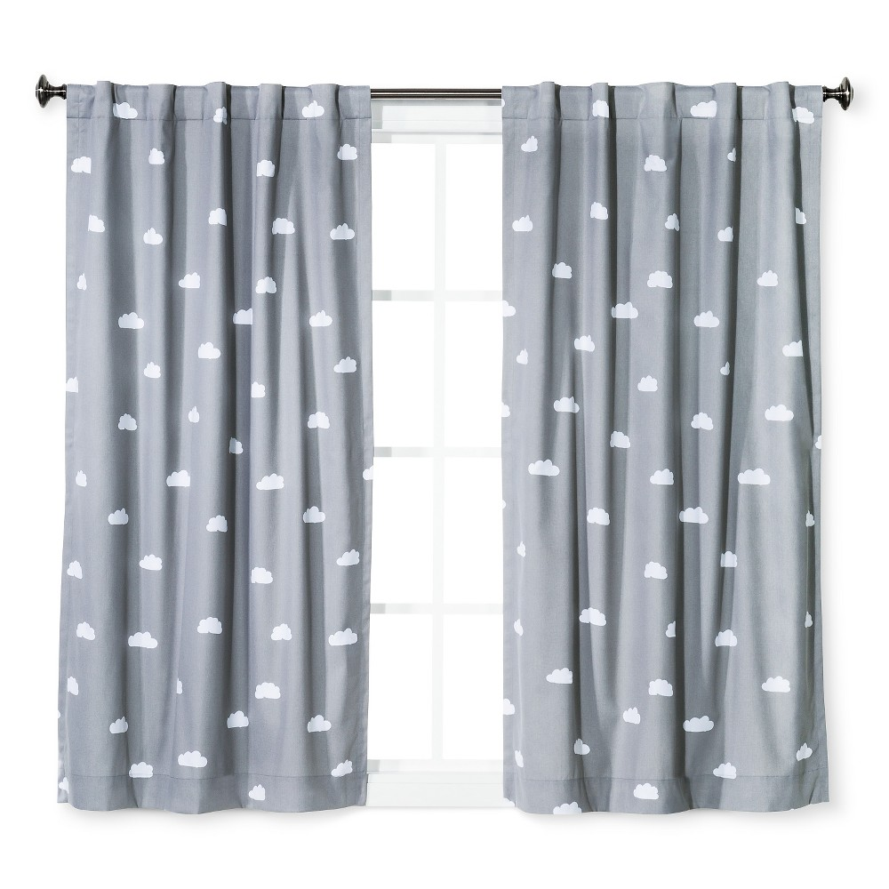 Cloud Print Twill Light Blocking Curtain Panel Gray